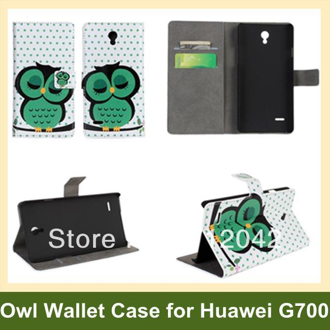Lovely Cartoon Owl Print Wallet Case for Huawei Ascend G700 PU Leather Flip Cover Case for Huawei Ascend G700 Free Shipping