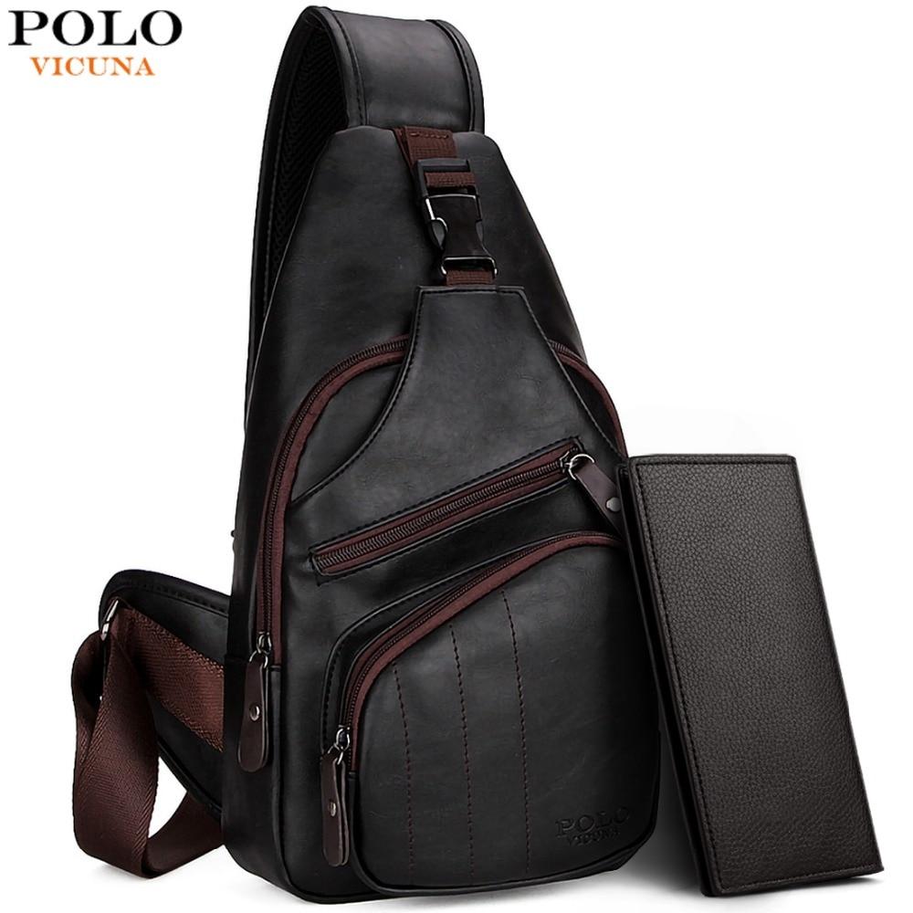 bc9f3a47f1ca VICUNA POLO, очень большая модная мужская сумка через плечо, черная кожаная  мужская сумка мессенджер с защитой от воровства, дорожная нагрудная сумка  купить ...