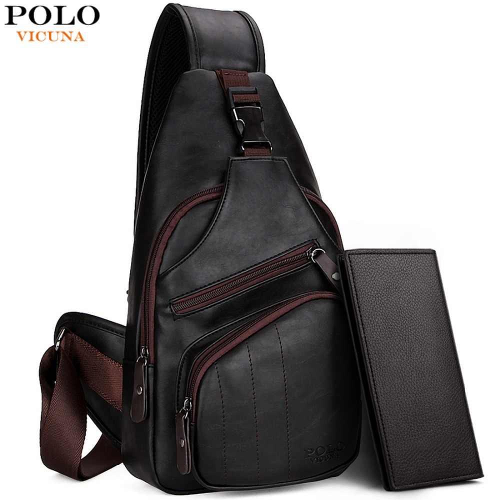 94d8ca925604 VICUNA POLO, очень большая модная мужская сумка через плечо, черная кожаная мужская  сумка-