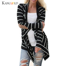 Fashion Woman Lady Casual Long Sleeve Striped Cardigans Spring Autumn Women Patch Design Long Sweater Outerwear Windbreaker Nov1(China)