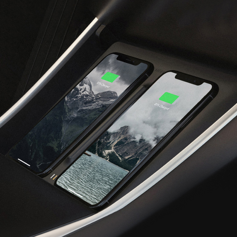 Wireless Phone Charger Dual Phones Charging Anti skid Car Mount Auto For Tesla Model 3 For All Qi enabled Android devices
