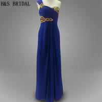 Real Photo Dark Blue Color Gold Sequins Beaded One Shoulder Long Chiffon Party Evening Dress