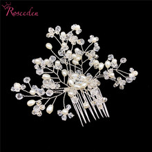2018 New Handmade Pearl rhinestone Wedding Hair Comb For Women Bridesmaid Silver bridal Accessories RE755