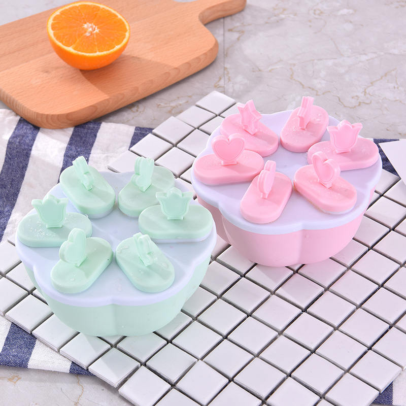 DoreenBeads 1 Set Ice Cream Tubs DIY Ice Tray Mold with Sticks Non-toxic Popsicle Making Tool Box Party Kitchen Bar Round Square