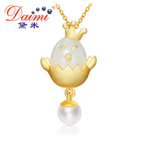 DAIMI Queen Lucky Chicken Necklace 5 6mm Pearl Pendant 925 Silver Pendant Necklace Guardian Angel Love