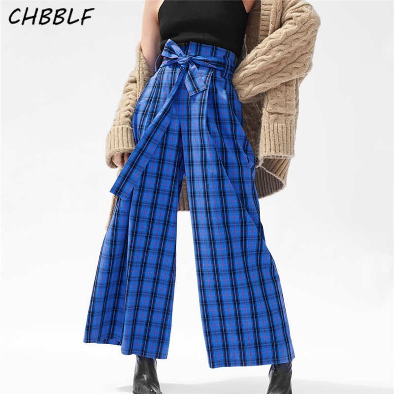 CHBBLF women bow tie sashes plaid   wide     leg     pants   bow tie waist ladies fashion basic full length trousers mujer WDL6038