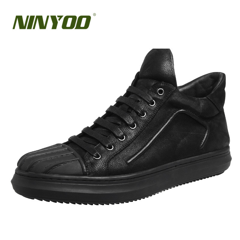 NINYOO New European Style Men Shoes Genuine Leather Casual Shoes Flat Wearproof Ankle Shoes Boots Shell Toe Black Students Shoes front lace up casual ankle boots autumn vintage brown new booties flat genuine leather suede shoes round toe fall female fashion