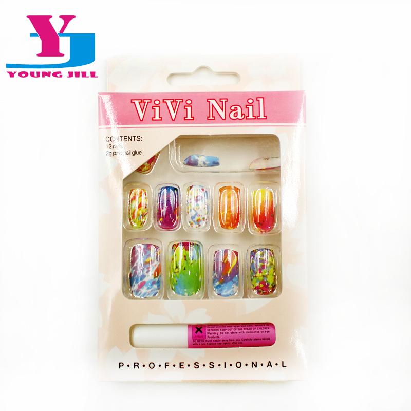 New Design Nail Tips Artificial False Nails Full Cover 12pcs/set False Nail  Faux Ongels Colorful  Acrylic Nail Art Tips Beauty