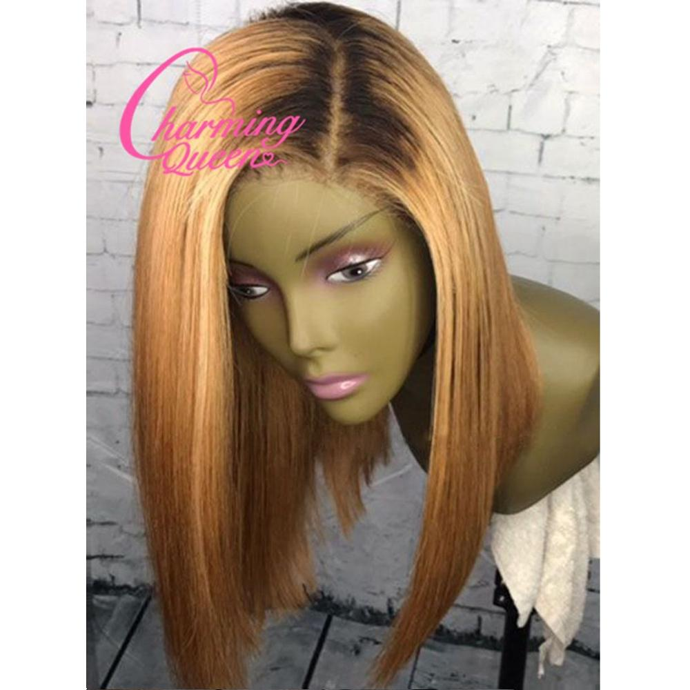 Lace Front Human Hair Wigs For Black Women T4/27 Pre Plucked Peruvian Remy Hair Ombre Straight Short Bob Wigs With Baby Hair