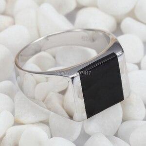 Image 3 - Модные Винтажные обручальные кольца Eulonvan из черной смолы, серебро 925 пробы, для мужчин, Прямая поставка, искусственная кожа, размер 6   13
