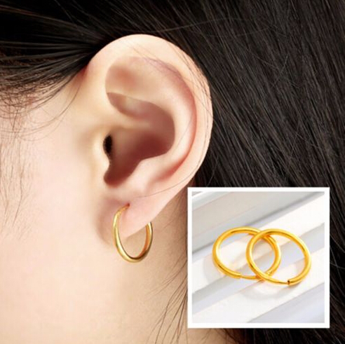 24K Yellow Gold Earrings Womens Little Circle Hoop Earrings24K Yellow Gold Earrings Womens Little Circle Hoop Earrings