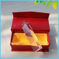 교육 도구 생일 선물 3X3X15 센치메터 삼각형 프리즘 광학 유리 프리즘 빨간색 상자 과학 물리