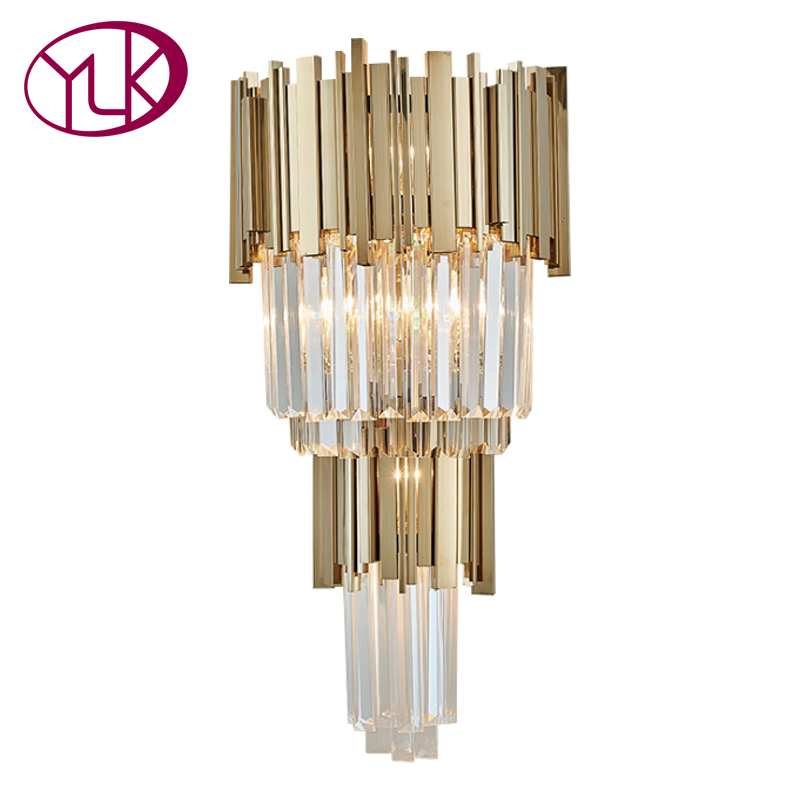 Youlaike Gold Modern Wall Sconces Lighting AC110-240V Two Level Crystal Wall Lamp Bedside Living Room Crystals Light Fixture modern crystal bed room wall lamp led sconces 110v 220v living room light home deocrationg lighting fixture free shipping