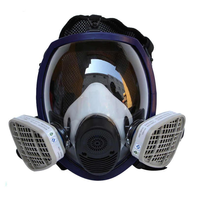 قناع واقي من الغاز + فلتر خرطوشة كامل الوجه تنفس قناع واقي من الغاز s 2 في 1 وظيفة سيليكون قناع صناعة اللوحة الرش المضادة الغبار