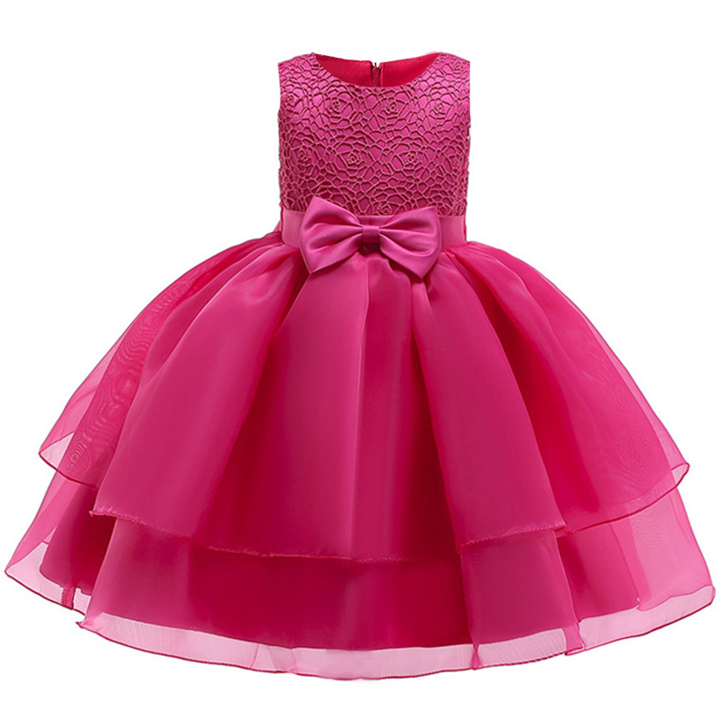Ball gown mesh bow   flower     girl     dress   first communion   dresses   for kids pageant   dresses   for   girls   baby costume children's clothing