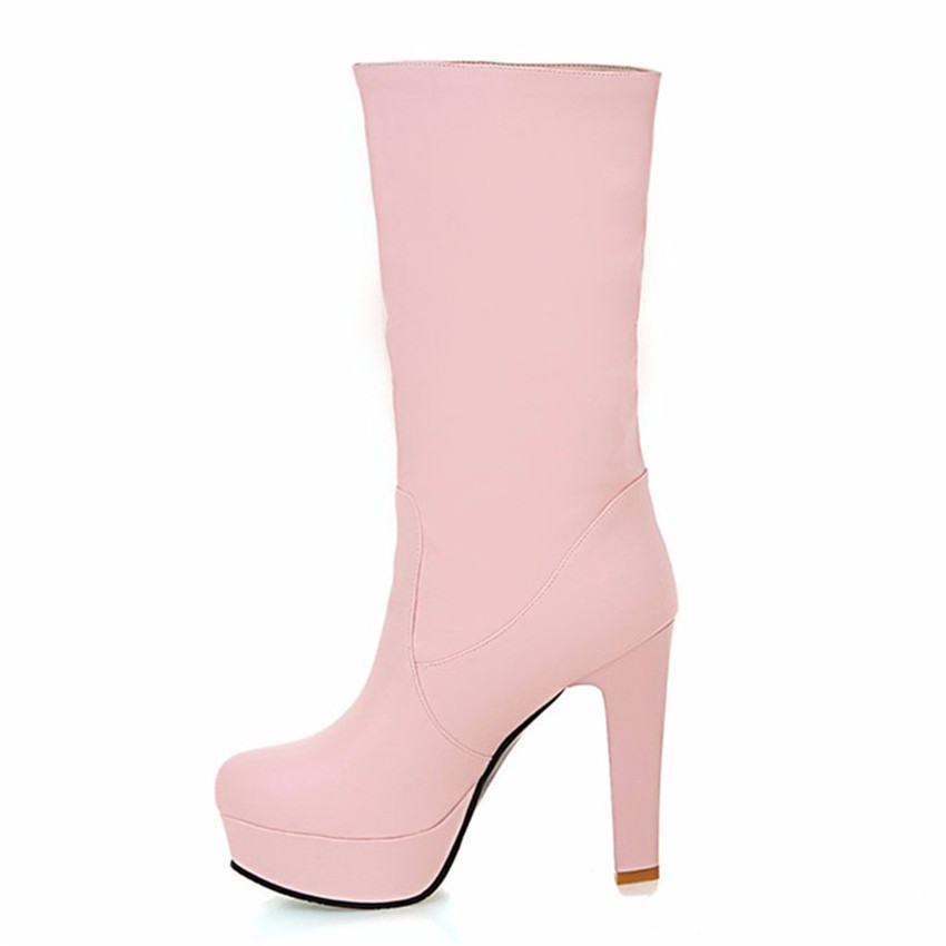 Autumn Winter Woman Platform High Heels Mid-Calf Boots Women Short Boots Ladies Shoes botas botte femme Plus Size 34-40.41.42.43