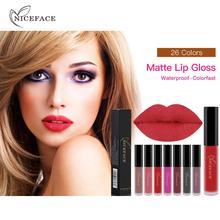 Фотография NICEFACE Liquid Matte Lipstick Sexy Red Lip Long Lasting Waterproof Lip Gloss Nude Lip Stick Makeup Cosmetics Tools 26 Colors