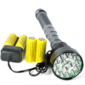 15xT6 LED Flashlight 18000 Lumens Super Bright Linterna LED Torch Light Hunting Lantern+4x 26650 Battery+Charger