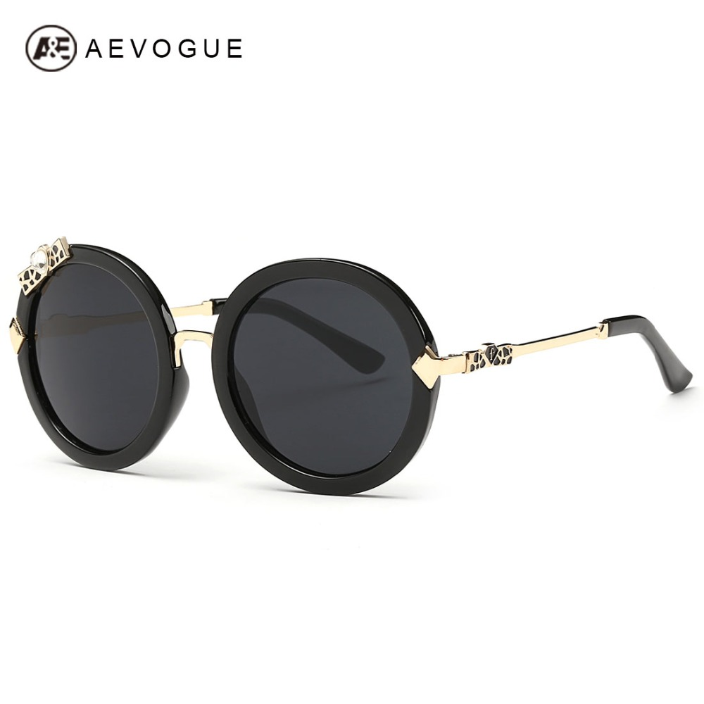 Aevogue Gafas de sol mujeres marca diseñador amor bowknot aleación templo  ronda alta calidad Marcos Sol Gafas oculos UV400 ae0305 facc4056c8e2