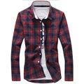 2016 Venta Caliente de la Tela Escocesa Camisas de Los Hombres Refrescan Diseño Encuadre de cuerpo entero alta Calidad Del Otoño Del Verano Camisas de Vestir Camisa Masculina M-5XL Plus tamaño