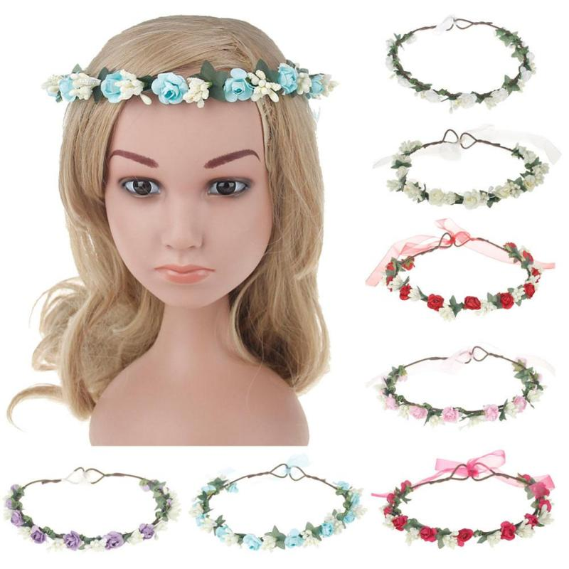 Women Girl Rose Flower Crown Children Hair Band Artificial