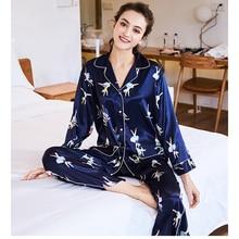 082e727376eaa 2018 nouveau femmes Satin soie Pyjamas ensemble à manches longues vêtements  de nuit dame loisirs maison