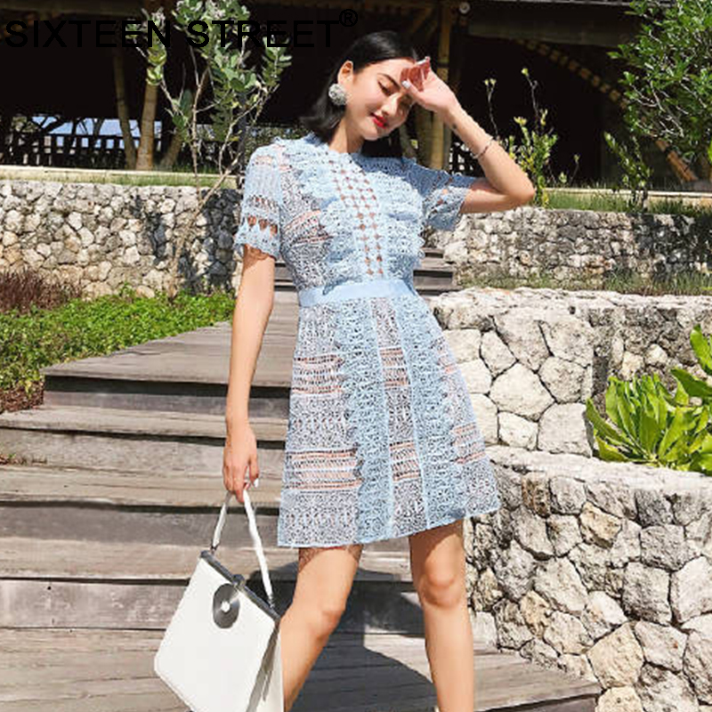 2019 NEW summer woman dress blue color short sleeve lace hollow out sexy mini dresses female spring short vestidos