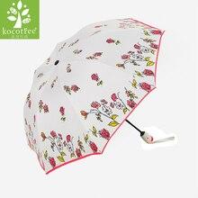 2019 Fashion Women Automatic Umbrellas Windproof Anti-UV Sun Parasol Ladies Rain Umbrella Lovely Rose Flower Folding