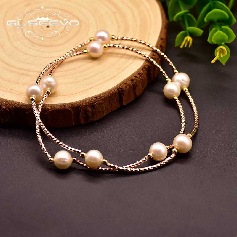 GLSEEVO Natural Fresh Water Pearl Bracelet Dual-use Bracelet For Women Luxury Bracelet 925 Sterling Silver Fine Jewelry GB0157