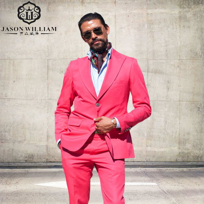jacket+pants Suits 2017 Hot Pink Men Suits Blazer With Pants Fashion Big Lapel Slime Fit Groomsmen Topic Wedding Party Tuxedos