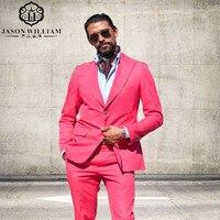 LN127 2017 Pink Männer Anzüge Blazer Mit Hosen Mode Großen Revers Schleim Fit Groomsmen Thema Hochzeit Smoking (jacke + Pants)