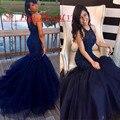 Sexy Azul Royal Africano Vestidos de Baile Com Puffy Saia Sereia Frisada Backless 2016 Vestido Longo Para a Festa de Formatura Vestido