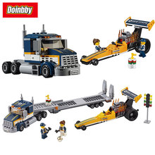 Lepin 02025 City Series Dragster Transporter Building Block Bricks Toys Kids Gifts 360Pcs Compatible 60151
