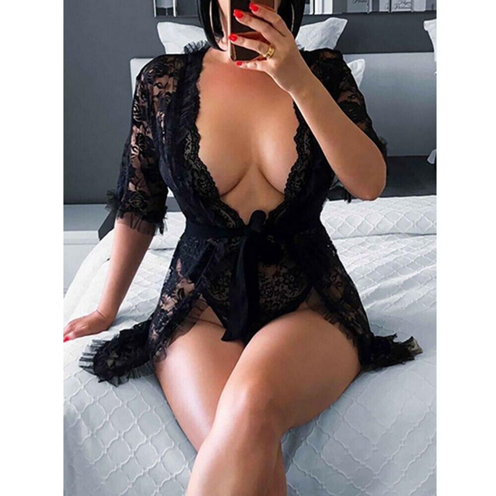 2019 neue trendy sehen-durch S-XL Sexy Dessous Nachtwäsche Spitze Tiefem V-ausschnitt Frauen G-string Kleid Unterwäsche Nachtwäsche Babydoll