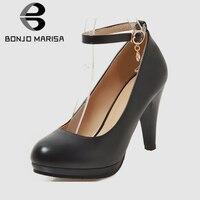 BONJOMARISA/Новые Брендовые женские туфли на платформе и высоком каблуке с ремешком на щиколотке, большие размеры 31-47 женские вечерние туфли-лодо...