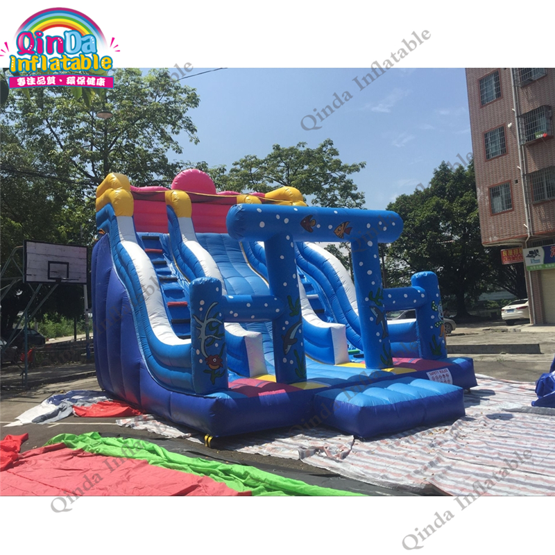 Inflatable Bouncy Slide Castle For Kids Jumping Children Slide Free Air Blower Inflatable Slide Fun City Children's Playground children shark blue inflatable water slide with blower for pool