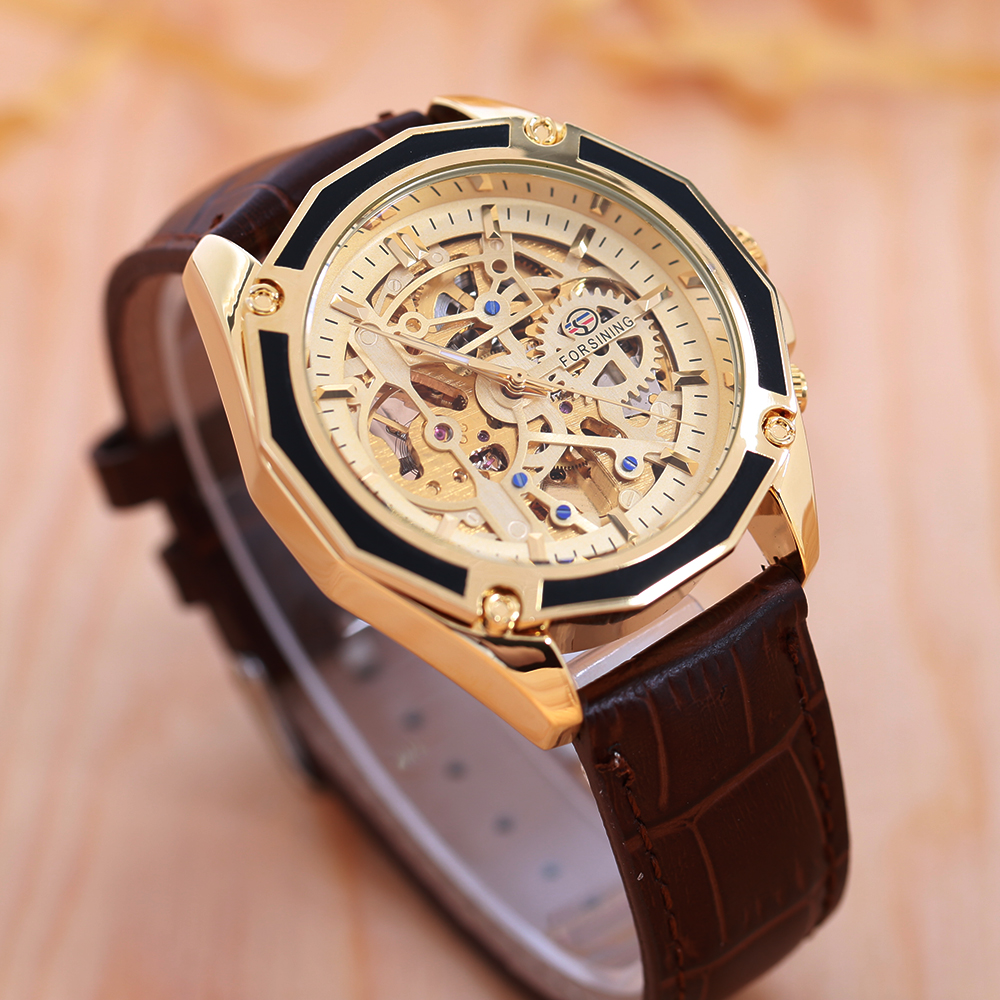 FORSINING Business Men Automatiska Mekaniska Watch Leather Strap - Herrklockor - Foto 4