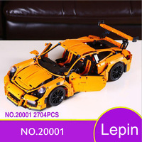 20001 Race Car Model Block Toys White Orange Car For Kids Birthday Gifts Compatible Lepin Technic