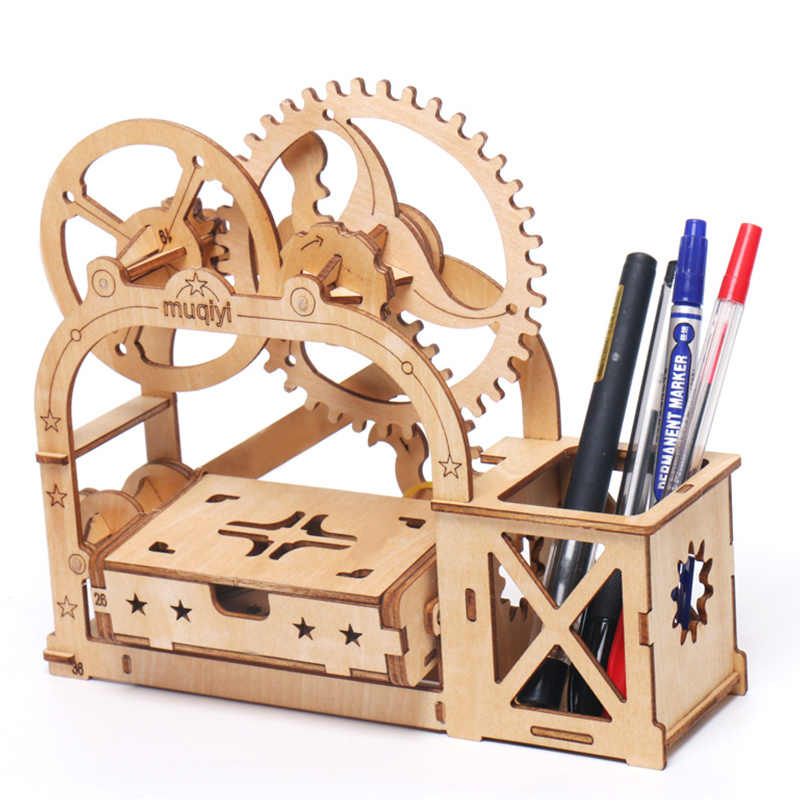 DIY 3D Wooden Puzzle Game Gift&Penholder&Storage Box for Children Kid Friend Model Building Kits Popular Toy Wooden toys for kid