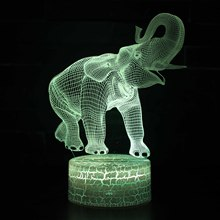 цена на Elephants 3d Colorful Led Lamp Acrylic Board Night Light Usb Plug In Smart  3d Led Lamp White base Lovely 7 color change Light