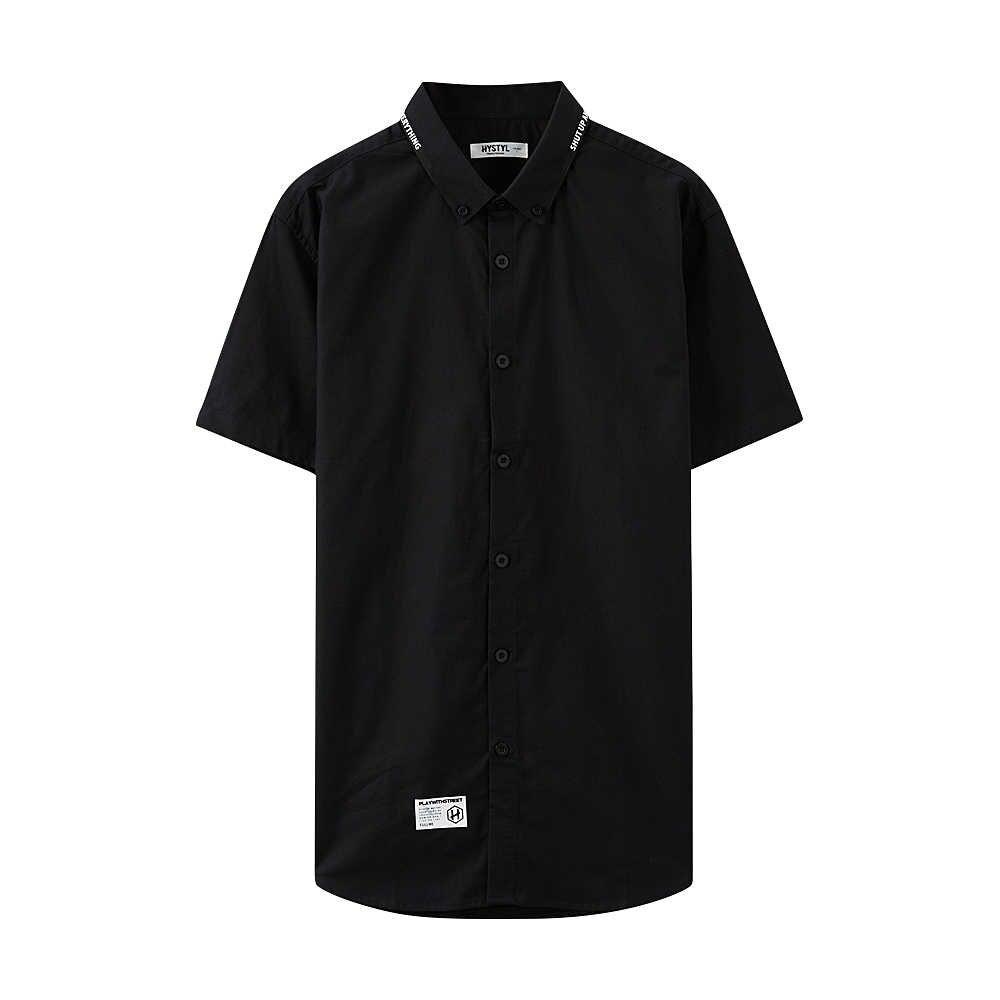 Metersbonwe Mannen Korte Mouw Shirt voor Man 2019 Nieuwe Trend Zomer Effen Kleur Shirt Casual Oxford Doek рубашка мужская