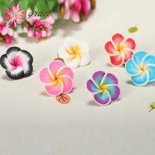 1pc/lots 20mm Cheap Polymer Clay Fimo Plumeria Flower Beads Making Bracelet Earring Hawaii Kawaii Jewelry Decoration Accessories(China)