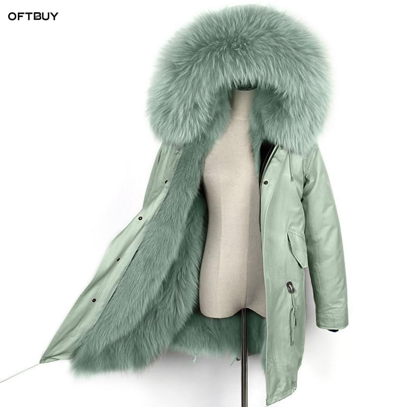 Kadın Giyim'ten Gerçek Kürk'de OFTBUY 2019 su geçirmez uzun parka kış ceket kadın gerçek doğal kürk ceket rakun kürk yaka tilki kürk astar dış giyim kore yeni'da  Grup 1
