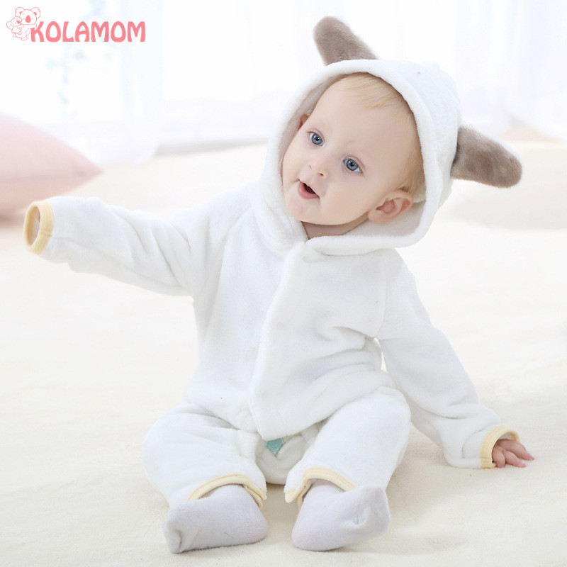 KOLAMOM HOT Newborn Baby Rompers Autumn Winter Flannel Boys Girls romper Infant babies Cartoon Animal shaped Jumpsuit Pajamas puseky 2017 infant romper baby boys girls jumpsuit newborn bebe clothing hooded toddler baby clothes cute panda romper costumes