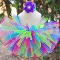 Em Estoque - Saias de Tutu Infantil Femininas Feitas à Mão, Saia de Arco-Íris para Princesas, Saias de Bebês para Festas de Aniversário com Fotos