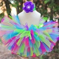 In Stock Kids Girl Skirts Rainbow Handmade Tutu Skirts For Princess Baby Birthday Party Photography Skirts