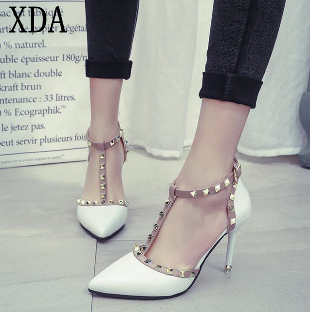 f2e0a3f163 XDA 2019 NEW woman High heels shoes Ladies Sexy Pointed Toe women pumps  Buckle rivets nude heels shoes free shipping
