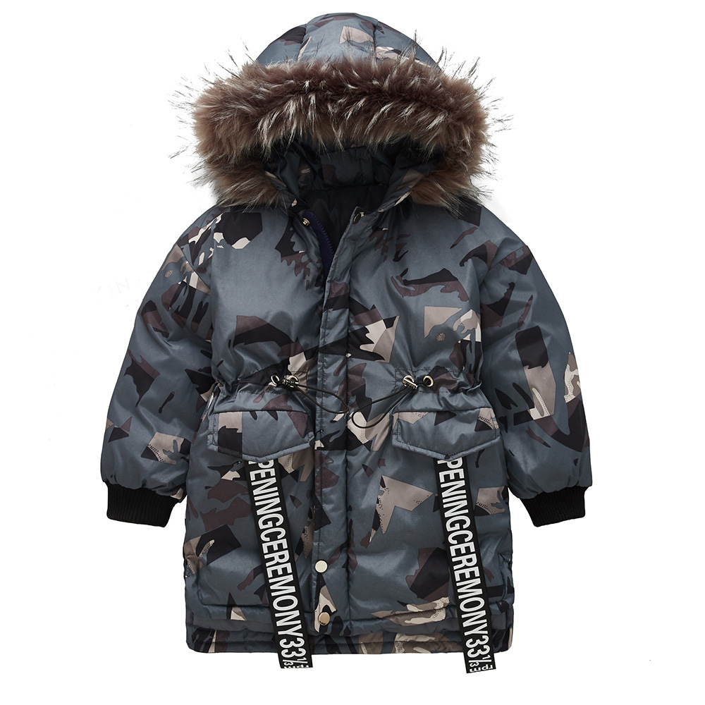 Girls Thick Camouflage Winter Jacket for Girls Long Outwears Cotton Padded Fur Collar Hooded Coat Child Windbreaker Coats Parka цена