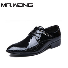 Cheapest Working dress shoes mens patent leather Oxfords business wedding black shoes lace up Pointed toe pu leather flats AB-25