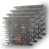 Оптовая продажа 11 штук Нержавеющаясталь метро стены Плитки для Кухня щитка 3M клейкостью 12 дюймов кисть серебро 3D наклейки на стену 6 мм